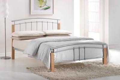 Tetras 4Ft Silver/ Beech Small Double Bed Frame