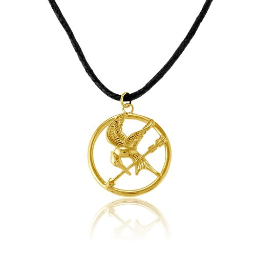 Sterling Silver The Hunger Games-inspired Gold-Plated Mockingjay Pendant on 18