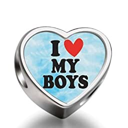 J.Charm I Heart My Boys Heart Photo Charms Beads bead DIY