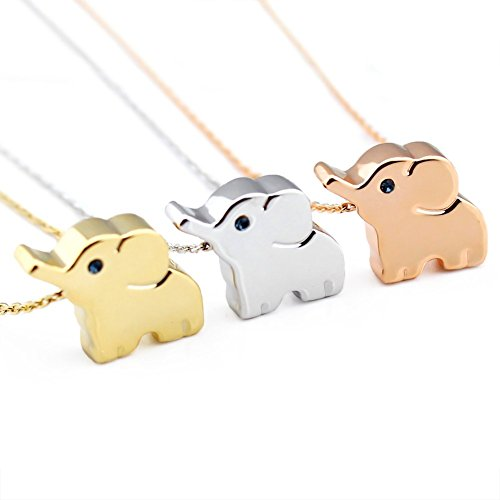 14k Plated Alloy Elephant Animal Lucky Elephant Necklace Everyday Jewelry (Silver)