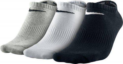NIKE Socken 3Pack Lightweight No Show, Gry Heath/Bk/Wh, XL, SX4705-901