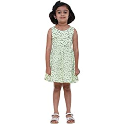 Indiwagon Green Color Girls Dress