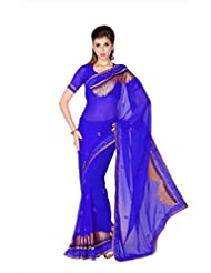 Designersareez Women Royal Blue Faux Georgette Saree With Unstitched Blouse (1755)