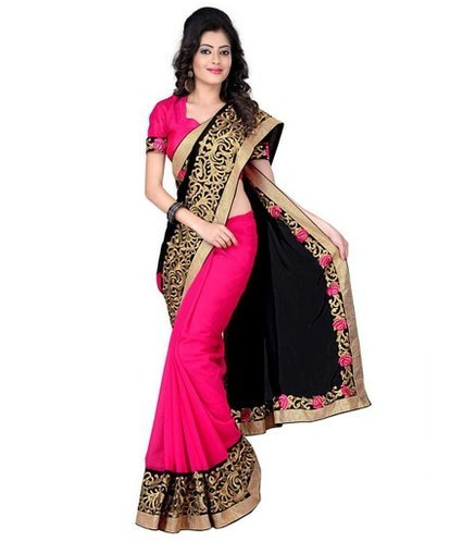 B Bella Creation Black And Pink Colour Chiffon Bollywood Designer Embroidered Saree With Unstitched Blouse Piece