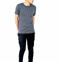 Younsters Choice Men's Cotton T-Shirt (YC-5818_Grey_Large)