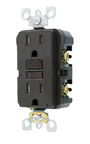 Leviton X7599-K 15-Amp 125-Volt Tamper Resistant Smartlockpro Slim Gfci Receptacle, Brown