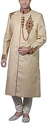 Amafhh Men's Silk Sherwani (amfsh1361, Beige, 42)
