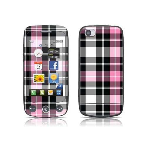 Pink Plaid Design Protective Skin Decal Sticker for LG Cookie Plus GS500 Cell Phone