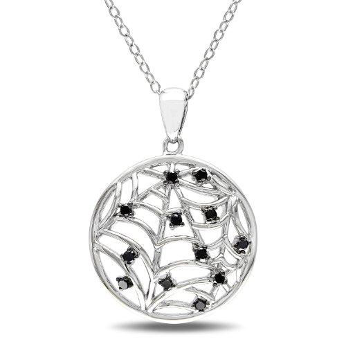 Sterling Silver 1/8 CT TDW Black Diamond Fashion Pendant