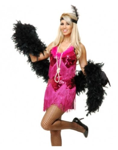 Womens Red Roaring 20s Fringed Sequin Flapper Costume Dress