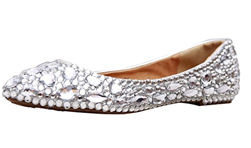 Minitoo MZLL030 Women's Fashion Comfortable Handmade Rhinestone Silver Satin Wedding Party Evening Prom Flats 9.5 M US