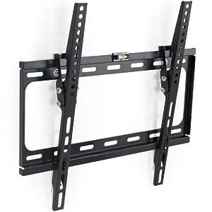 TecTake® TV Wandhalterung neigbar für Flachbildschirme universal bis VESA 400x400 66 cm (26 Zoll) bis 140 cm (55 Zoll) Wandabstand 2,5cm bis 90 kg schwarz