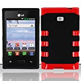 LG Optimus Logic L35g / Dynamic L38c Case Red Fusion Hybrid Cover (Straight Talk/Net 10) + Free TRENDE Gift Box