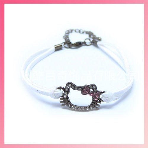 CJB Hello Kitty Rhinestone Leather Bracelet White (US Seller) - 1