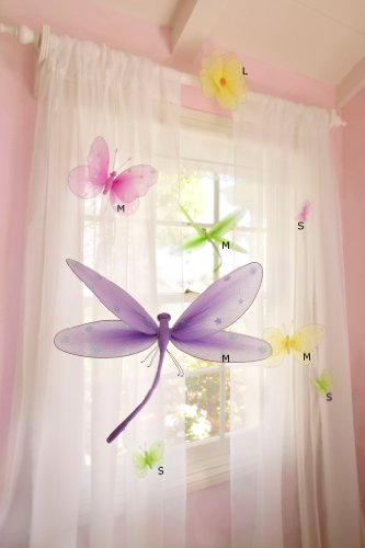 Butterfly Flower Garden for Girls Room and Party Decorations - Set of 8