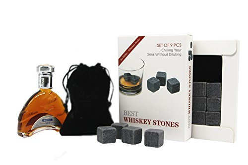 Best Whiskey Stones & Wine Rocks By Connoisseur's Choice- Set of 9 Chilling Stones- Chill Your Wines & Spirits Without Diluting Their Taste- High Quality-Reusable- Made of 100% Pure Soapstone-Gift Box