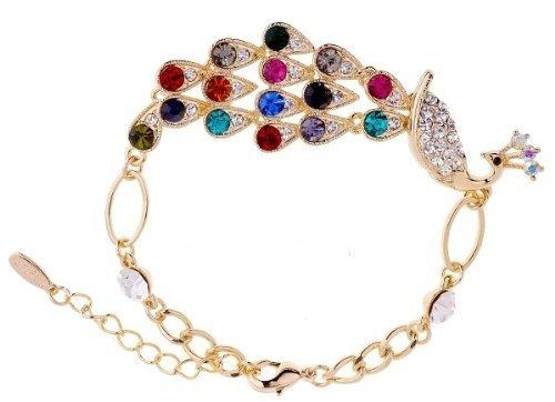 Purplelan-The Czech Crystals Rhinestones Peacook Bracelet Bangle Fahsion Jewlery Ab305