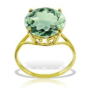 14k Solid Yellow Gold Ring with Natural 12.0 MM Round Green Amethyst - Size 10.0