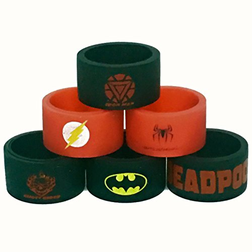 Silicone Superhero Vape Bands Tank Band (6-Pack (Iron Man, Flash, Spiderman, Ghost Rider, Batman, Deadpool)) (Tank Band compare prices)