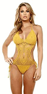 Handmade Tie Side Crochet One Piece - XLarge