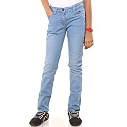 Menthol Girls Denim Lycra Jeans Pant (9-10 Years, Light Denim)
