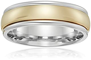 Men's 14k Gold Two-Tone 6mm Comfort Fit High-Polished Carved Wedding Band, Size 9
