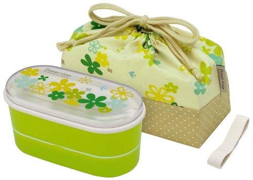 awardpedia japanese 2 tiers bento lunch box with belt bag chopsticks green flower river. Black Bedroom Furniture Sets. Home Design Ideas