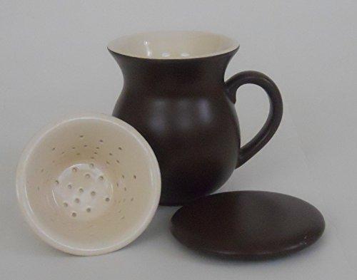 Chantal Tea Mug With Infuser, Lid Brown 15 Ounces