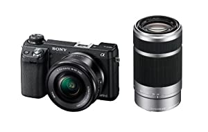Sony NEX6L/B2BDL 16.1 MP Compact System Camera with 16-50mm Power Zoom Lens and 55-210mm Lens (Black)