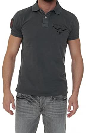 True Religion Polo Shirt BUFFALO CORNUA MENS POLO, Color: Anthracite, Size: 3XL