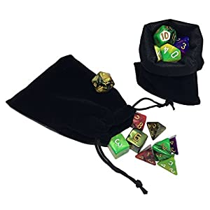 New 5 x 7-Die Series Polyhedral Dice Set - 5 Colors Dungeons and Dragons DND RPG MTG Table Games Dice with 5 Free Pouches