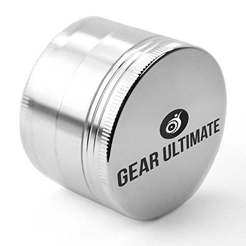 Gear Ultimate Herb Grinder, Large 2.5 Inch 4 Piece Anodized Aluminum with Pollen Catcher and Scraper, Best Herb Crusher for Tobacco, Weed, Tea, Herb
