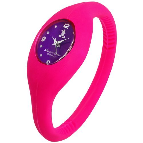 Disney Disney Mickey silicone sport watch pink x purple letter Edition wristband type sporty watch purple vivid pink [parallel import goods]