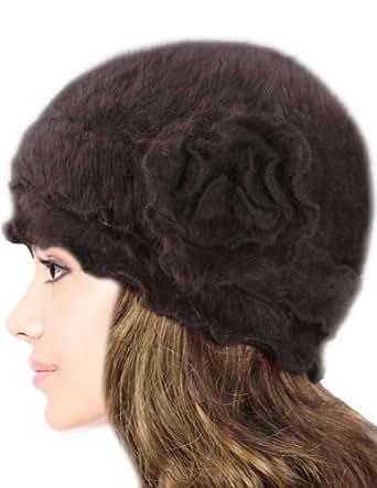 Dahlia Women's Super Soft Flower Laciness Knit Beanie Hat - Brown