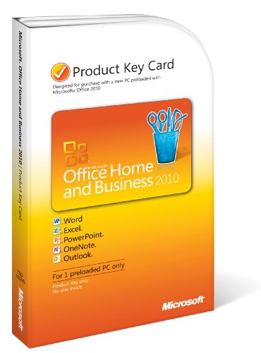Microsoft Office Home & Business 2010 Product Key Card