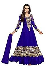 Clickedia Beautiful Royal Blue Anarkali Semi-sticthed Anarkali Suit-36000