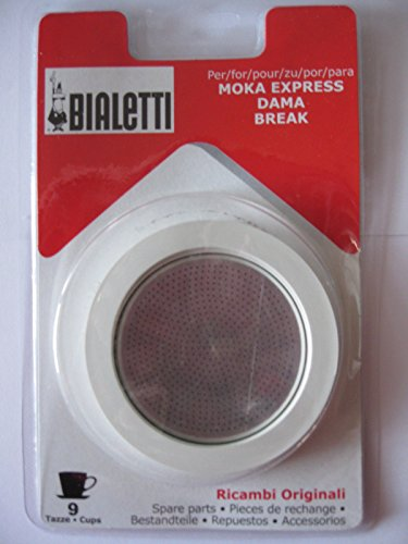 Bialetti 9 Cup Moka Express Replacement Gasket Seal Filter Incl 2 Gaskets 2-Pack