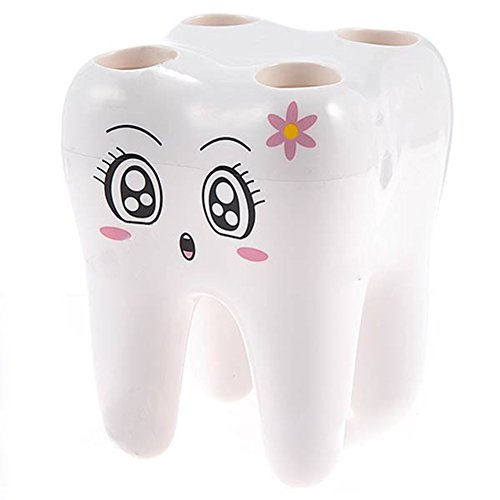 Etiger® Cute Creative 4 Holes Tooth Shaped Toothbrush Holder Bathroom Accerssory