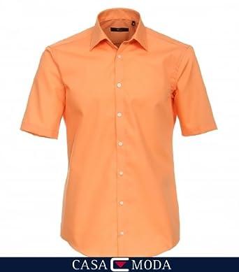 VENTI Hemd Tailliert Kurzarm Orange Kent Kragen 100% feinste Baumwolle 43