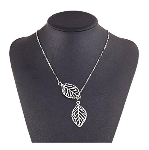 se-femmes-argent-ton-simple-metal-double-pendentif-feuille-collier-choker