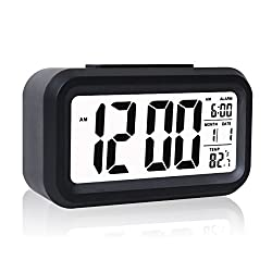 Alarm Clock, Eridge LCD Clock Digital Alarm Clock Slim Travel Clocks Battery Operated for Home Office-Black (Large Display, Soft Backlight, Temperature & Snooze Function)