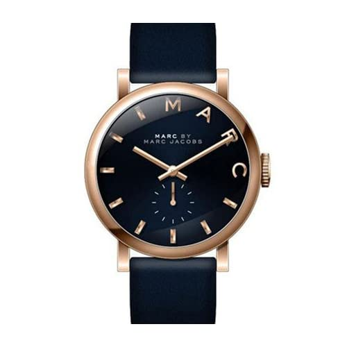 【MARC JACOBS】マークジェイコブス 腕時計 ネイビー×ローズゴールド/ネイビーレザーストラップ レディス MBM1329[並行輸入品]