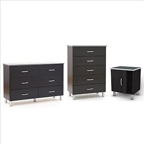 South Shore Cosmos Dresser, Chest and Nightstand Set in Black Onyx/Charcoal