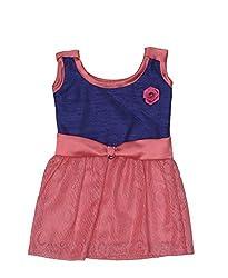 RoopRahasya Girls' Raw Silk Designer Dress Frock_NBPN125_2Y_Navy Blue & Pink