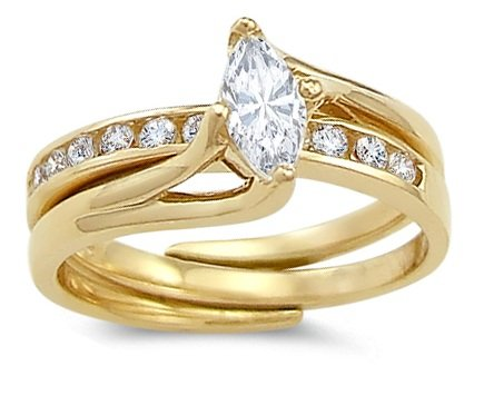 CZ Marquise Engagement Rings Set 14k Yellow Gold Cubic Zirconia 1 CT, Size 8.5
