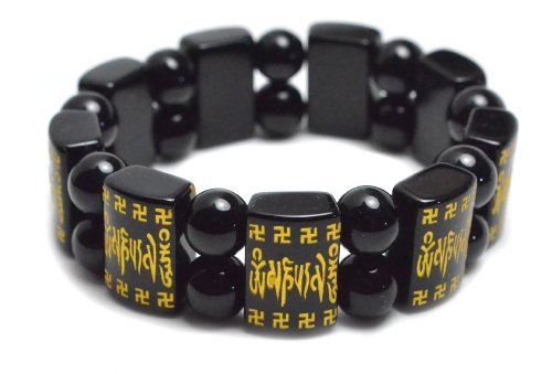 Tibetan Mantra and Swastika Scripts Black Agate Amulet Bracelet , Om Mani Padme Hum Mantra- Fortune Feng Shui Buddhist Jewelry