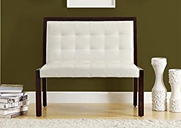 """TAUPE LEATHER-LOOK / CAPPUCCINO WOOD 40""""L BENCH (SIZE: 40L X 24W X 36H)"""