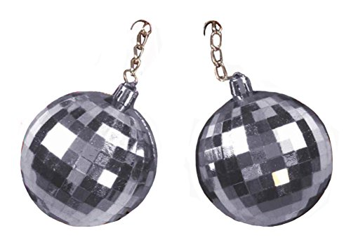 Deluxe Jumbo Silver 70's Disco Ball Clip On Earrings