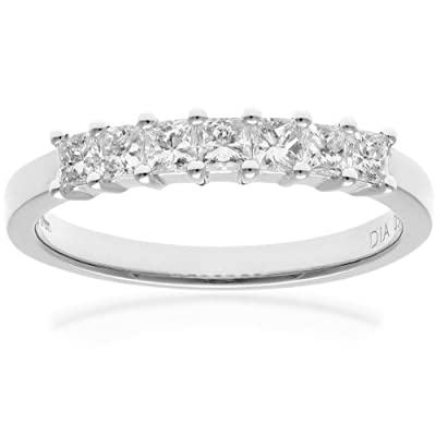 Ariel Platinum Eternity Ring, J/I Certified Diamonds, Princess Cut