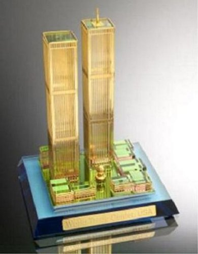 Crystal 24k Gold Plated Miniature, World Trade Center, Scaled Replica (World Trade Center Model compare prices)